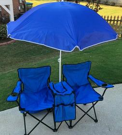 Double Folding Beach Chair & Umbrella with Cooler Bag