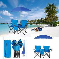 Double Folding Chair w/ Umbrella and Table Cooler Fold Up Be