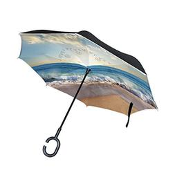 ALAZA Double Layer Inverted Beach Ocean Umbrella Cars Revers