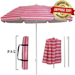 folded beach umbrella with tilt portable silver