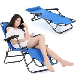 Folding Reclining Chair Chaise Lounge Benche Pool Beach Gard