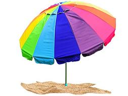 Party With Pride Giant 8' Rainbow Beach Umbrella / With UV P