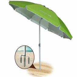 AMMSUN Green 6.5 Ft 8 Panels Beach Umbrella Sand Anchor w/ S