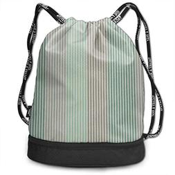 Airealy Green Pink Stripe Outdoor Bundle Backpack Drawstring