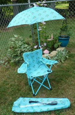 Beach Party Kids Camp Chair with Umbrella Palm Trees. Adorab