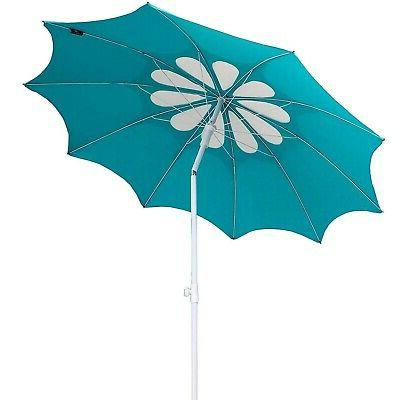 AMMSUN Panels Polyester Fabric Beach Umbrella, Adjustable