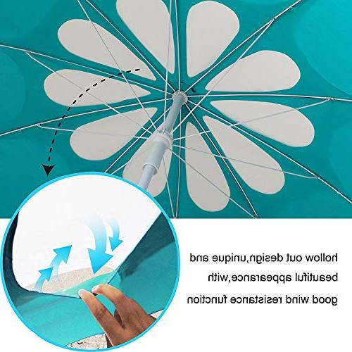 AMMSUN 10 Polyester Outdoor Beach Umbrella, Adjustable Hollow Pattern with 50+ Teal /white