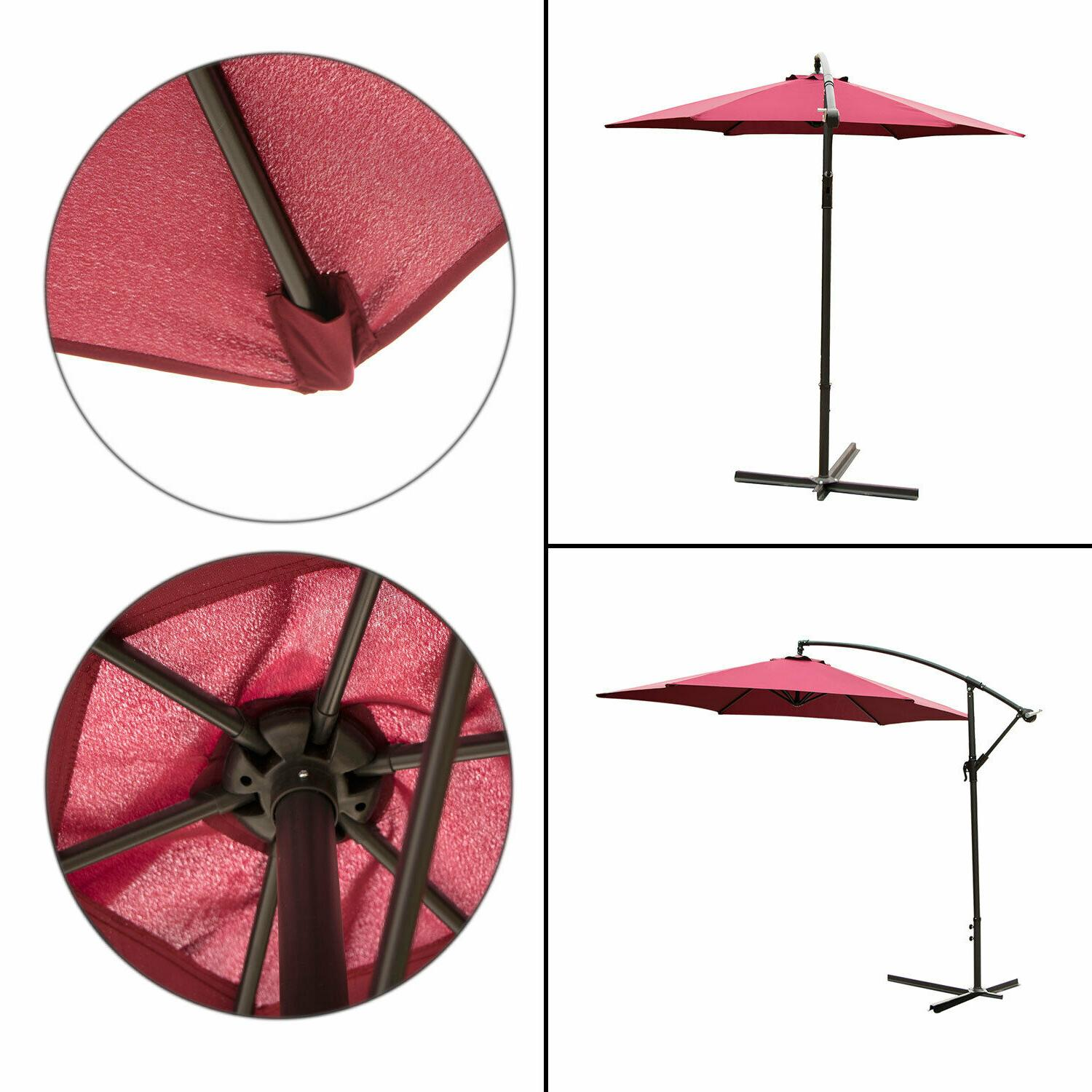 10FT Patio Umbrella Sun Shade Red