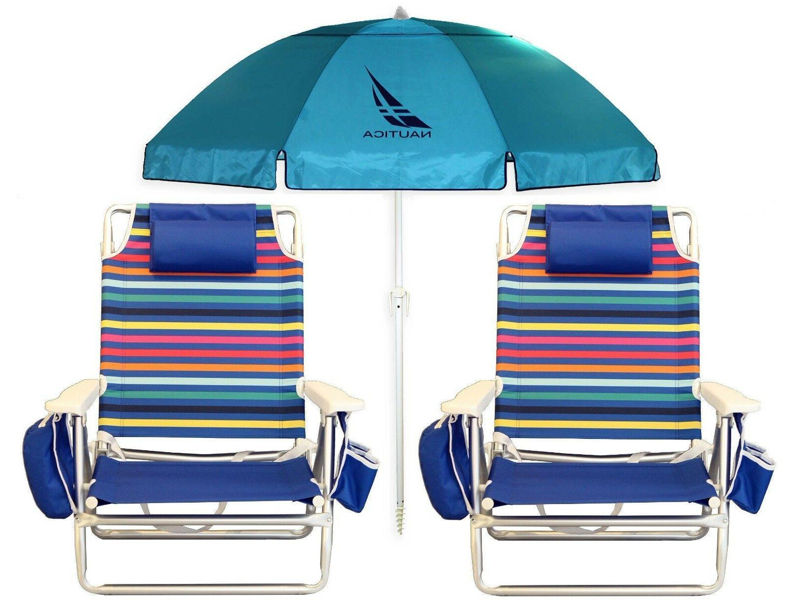 2 multi color beach chairs w cooler