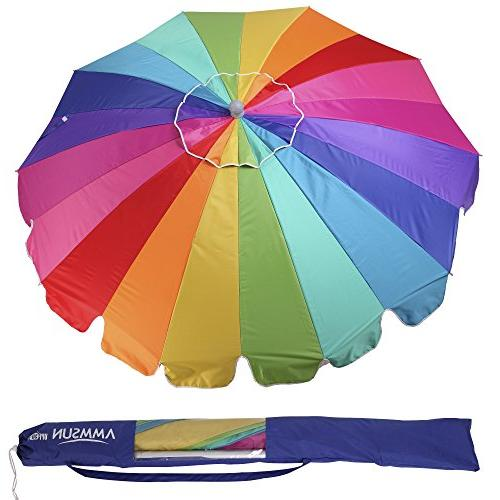AMMSUN 7.5ft 20 Vented Beach with Tilt Pole Outdoor Sun Umbrella Carry Rainbow