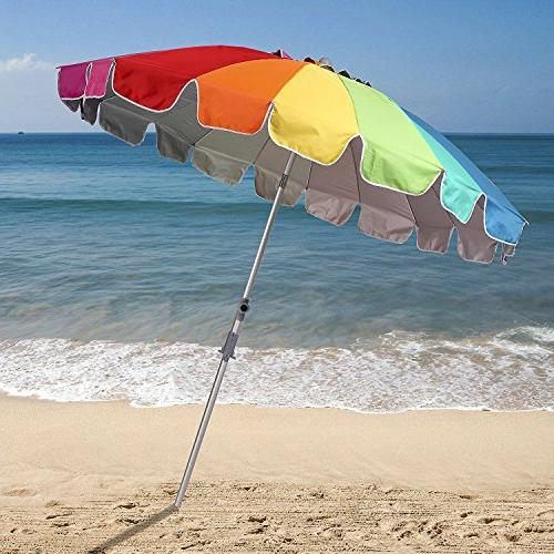 AMMSUN 7.5ft Vented Umbrella Tilt Telescoping Pole Pool Sun Umbrella Rainbow