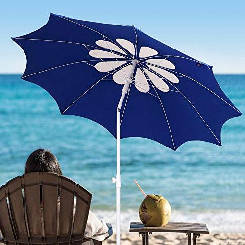 AMMSUN 2017 7ft Beach Patio Heavy 10 Panels UPF 50+ Deluxe Flower with White/Blue
