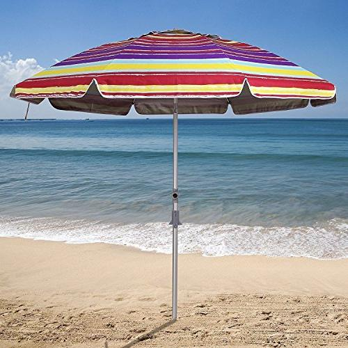 AMMSUN Ft Patio Beach Umbrella Zinc Tilt and 50+ Silver Coating Inside Multicolor