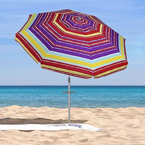 AMMSUN 7 Patio Anchor Umbrella with and 50+ Coating Inside Multicolor Red