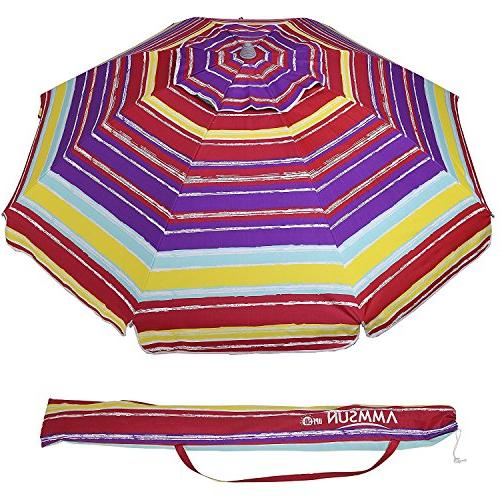 AMMSUN Outdoor Patio Umbrella with Tilt and Carry 50+ Multicolor