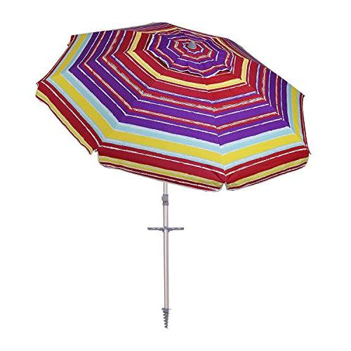 AMMSUN 7 Patio Beach Umbrella and Carry Bag 50+ Multicolor Red