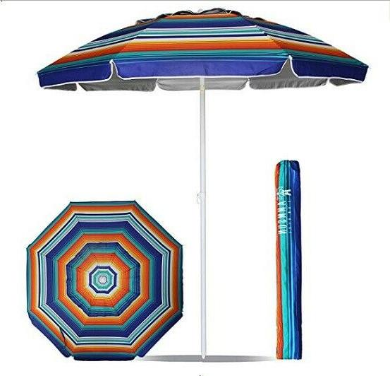 AMMSUN Beach Patio Tilt Umbrella Multi Color