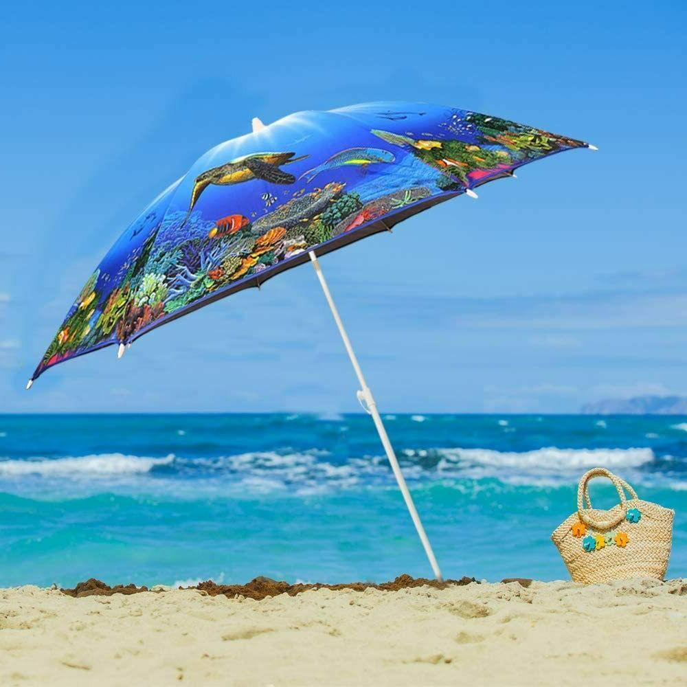 6.5ft. Beach Umbrella and Height Connector UV UPF