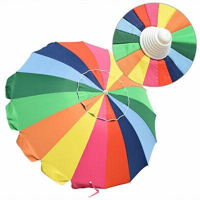 6/7/8ft Patio Umbrella Metal 16 Rib Sunshade Umbrella