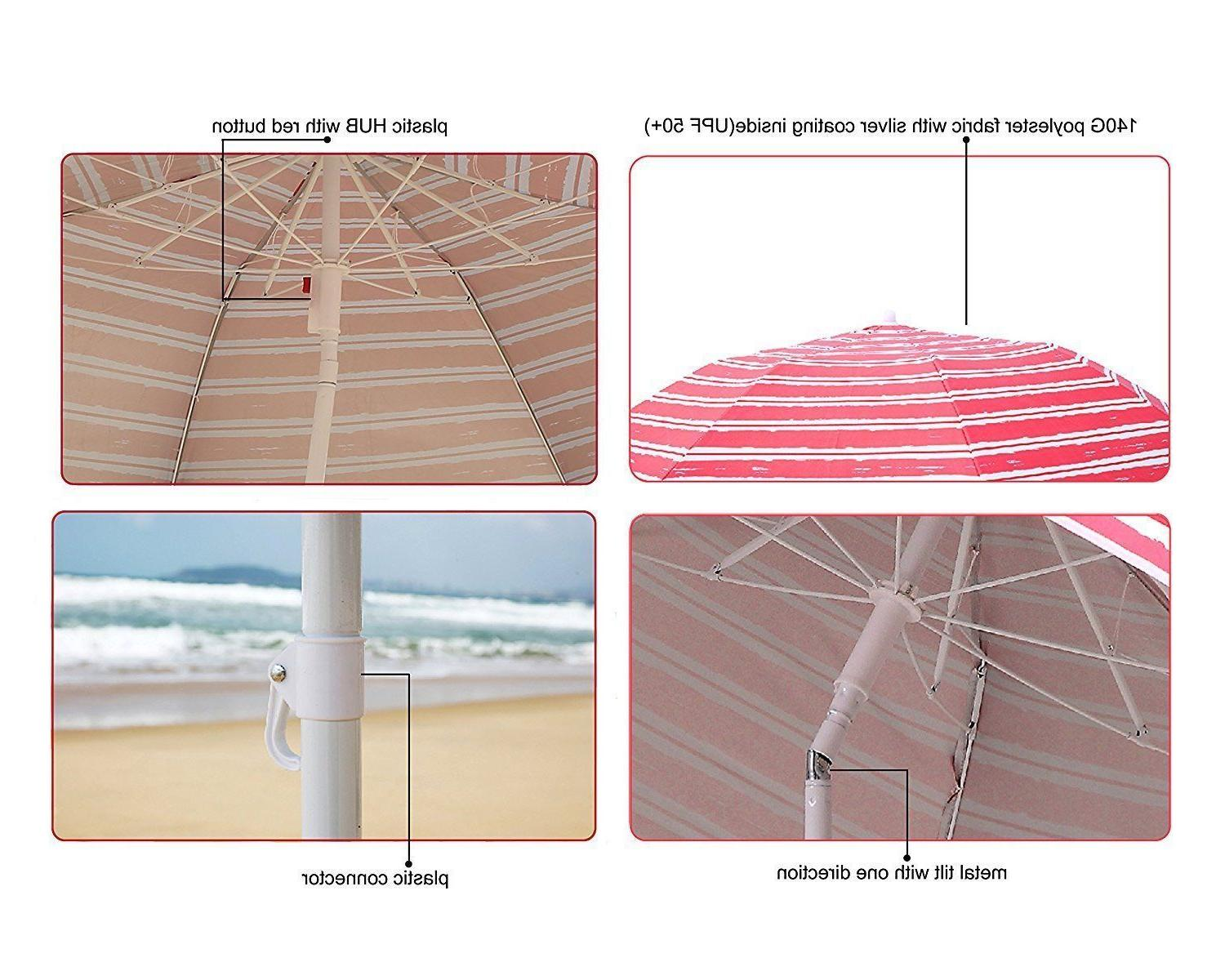 AMMSUN Portable Beach Umbrella UV Protection