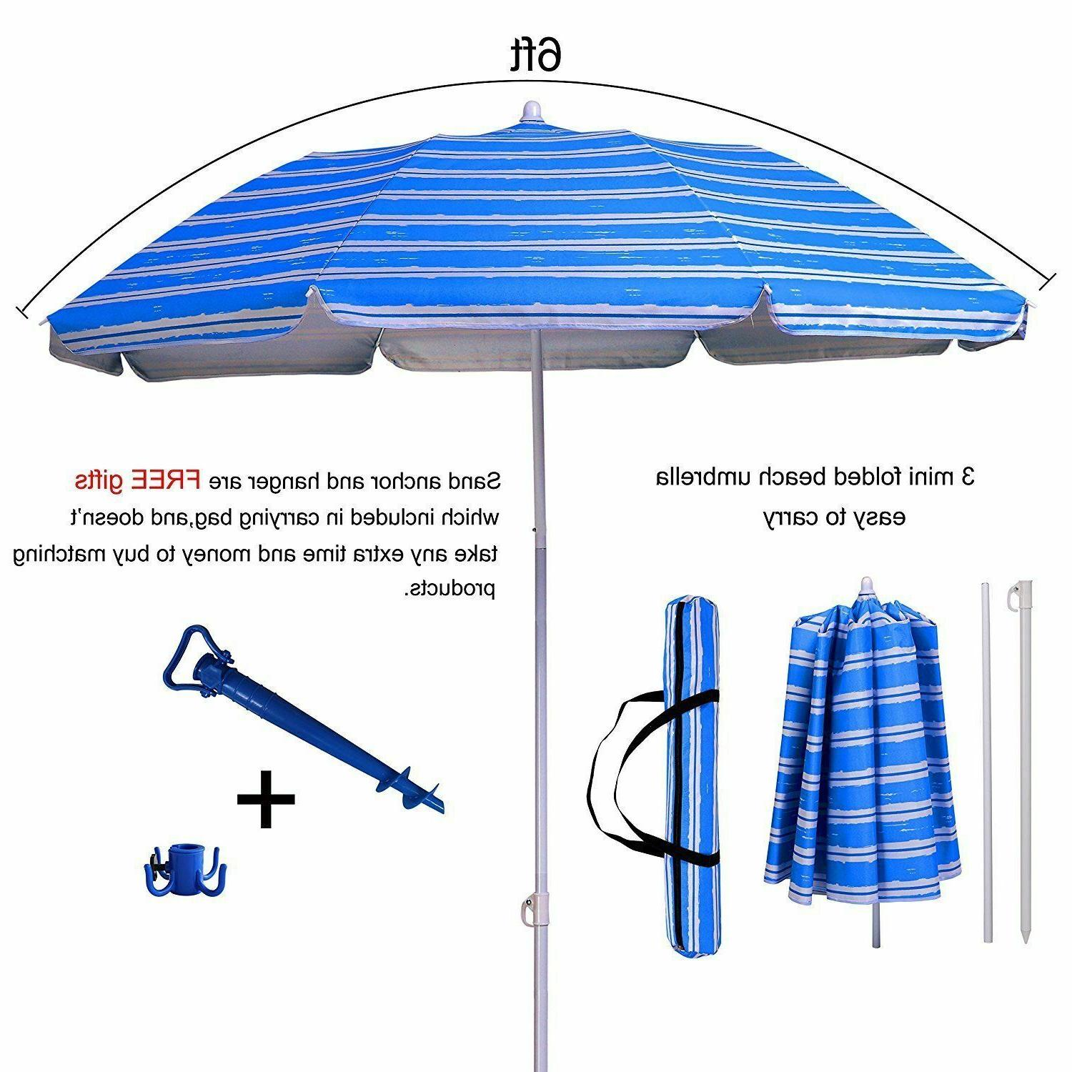 6ft portable folded beach umbrella tiltable uv