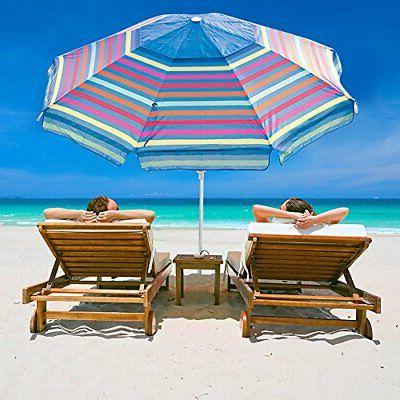 7 ft adjustable beach umbrella with sand