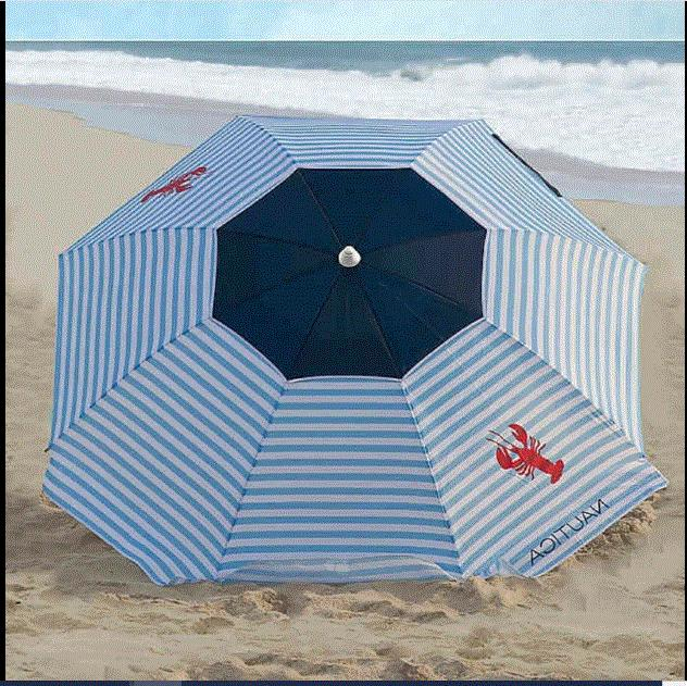 NAUTICA 7 FT Multi Color Lobster BEACH UMBRELLA W/ Flaps FAS