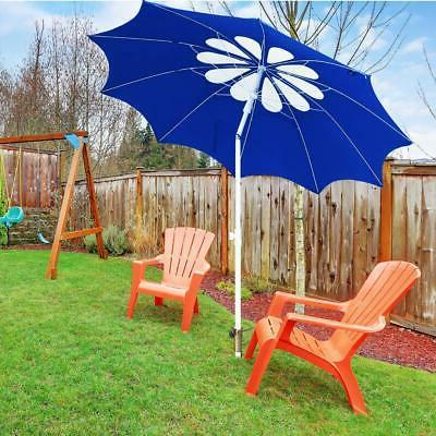 AMMSUN 7ft Umbrella with Pole and UPF 100+, Flower