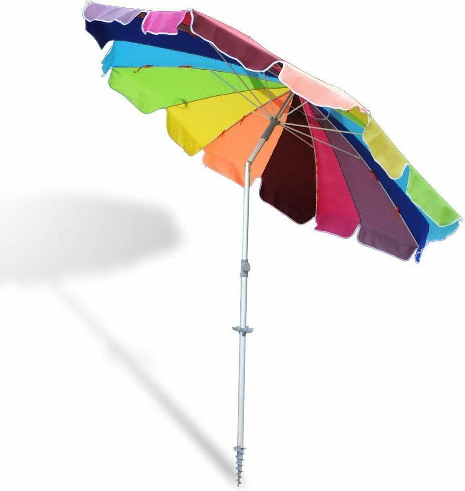 8 ft 16 Reinforced Beach Umbrella Tilt Aluminum Integrated