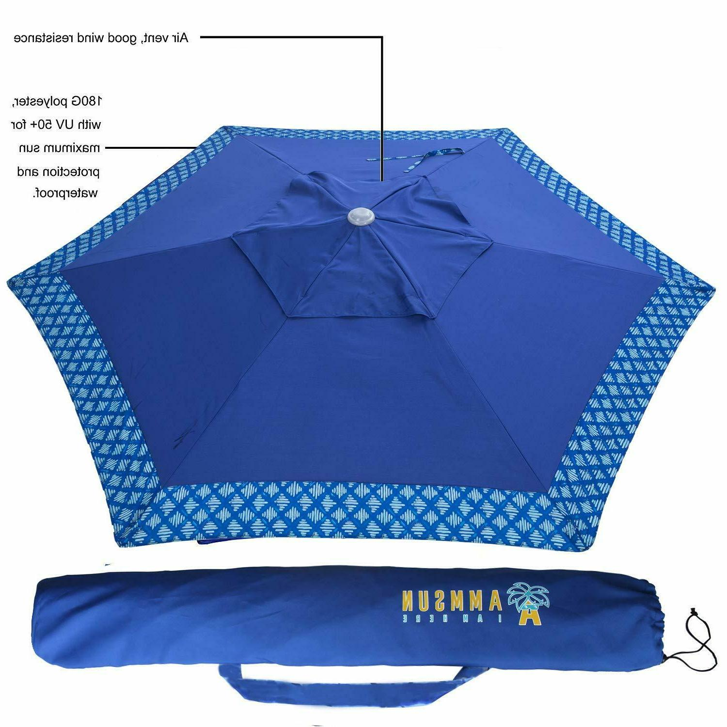 AMMSUN Beach Umbrella with Adjustable Height