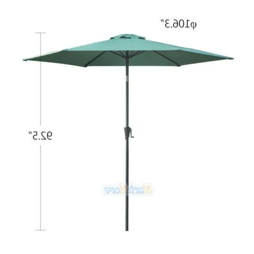 9FT Umbrella Steel Tilt Crank Outdoor Yard Beach