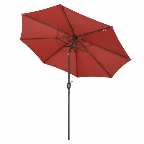 9ft Umbrella Beach Sunshade UPF 50 Red