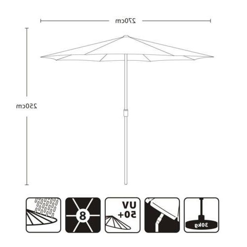 9ft Market Patio Umbrella Beach Sunshade 50