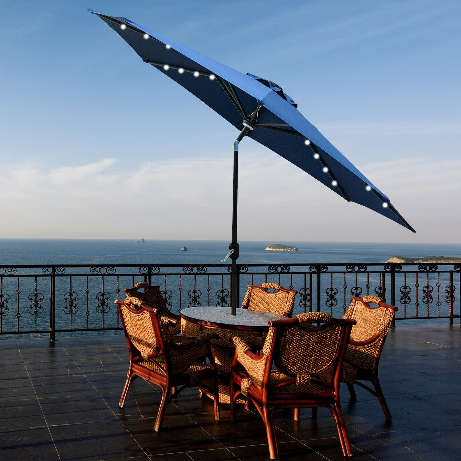 9ft patio umbrella led solar powered outdoor