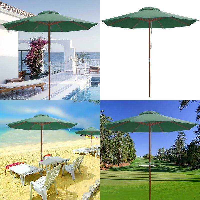 9ft wooden outdoor patio green umbrella w