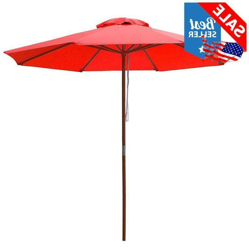 Yescom 9Ft Wooden Outdoor Patio Red Umbrella W/Pulley Market