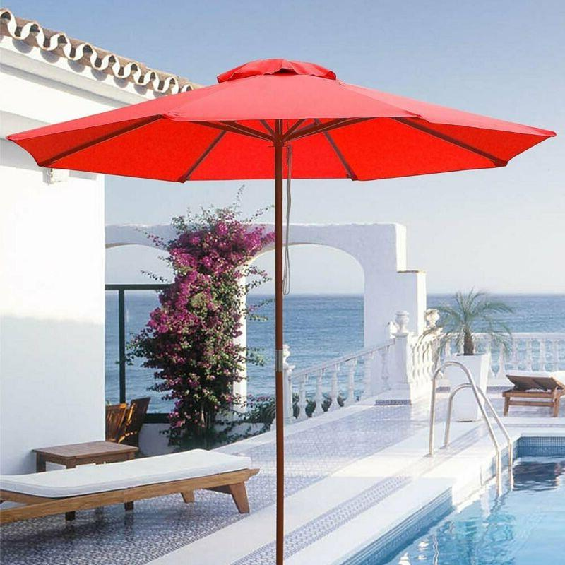 Yescom 9ft Wooden Patio Red Umbrella W/Pulley Market D