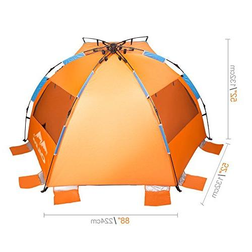 Oileus X-Large 4 Person Beach Sun - with Carrying Bag, 6 UV Fishing Camping, Orange