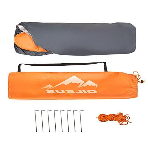Oileus 4 Person Beach Tent - Portable Sun Instant for with Stakes, 6 Sand Pockets, UV Camping, Waterproof Windproof, Orange