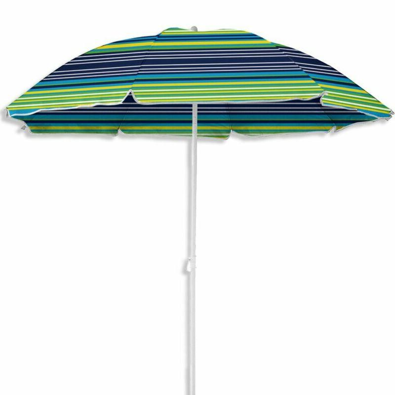 BASIC BEACH UMBRELLA UV PROTECTION STRIPE PATIO MARKET OUTDO