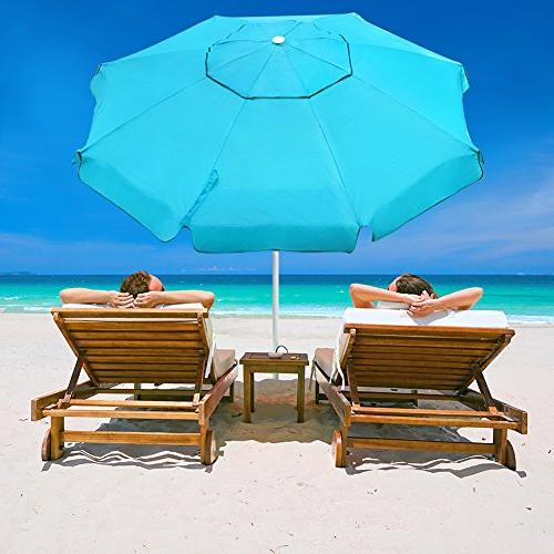 Abba Patio Beach Anchor, Push Button Tilt and Carry Height Fiberglass Umbrella,