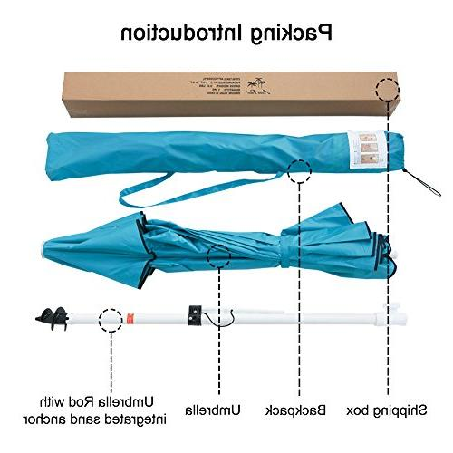 Abba Patio Beach Umbrella Anchor, Push Button and Bag, Height Umbrella, Turquoise