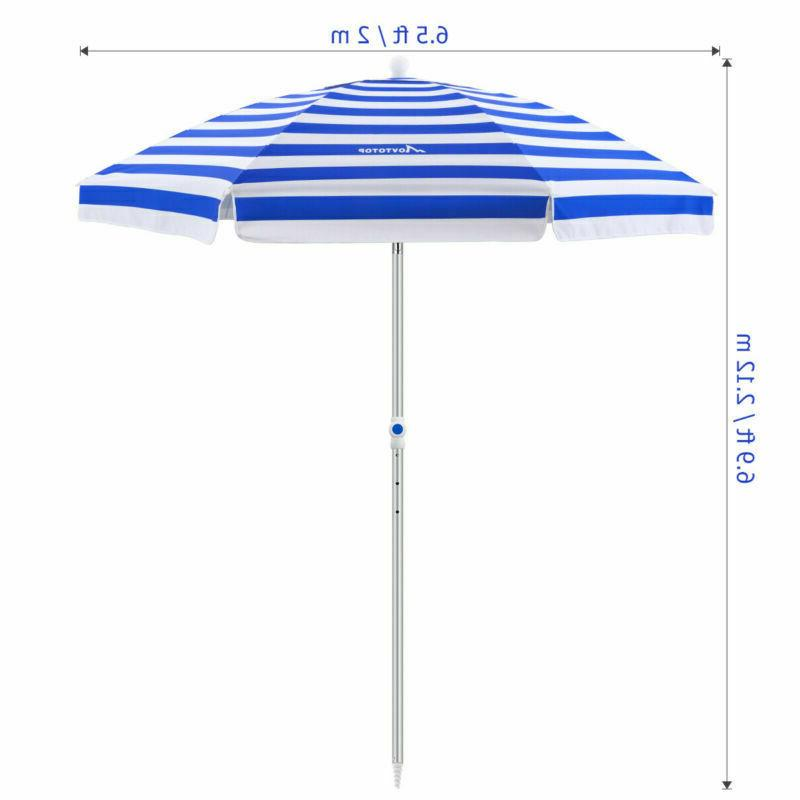 Beach Umbrella 7ft Anchor Tilt Aluminum Pole UV Prote + Bag