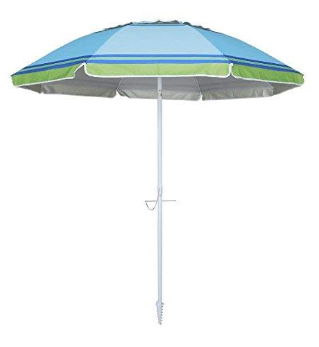 YATIO-7ft Beach Umbrella with Tilt Integrated Sand SPF/UPF100+, Stripe