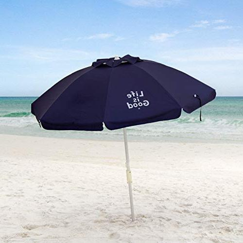 Life is Good Beach Umbrella with Anchor, Towel Hook, Telescoping