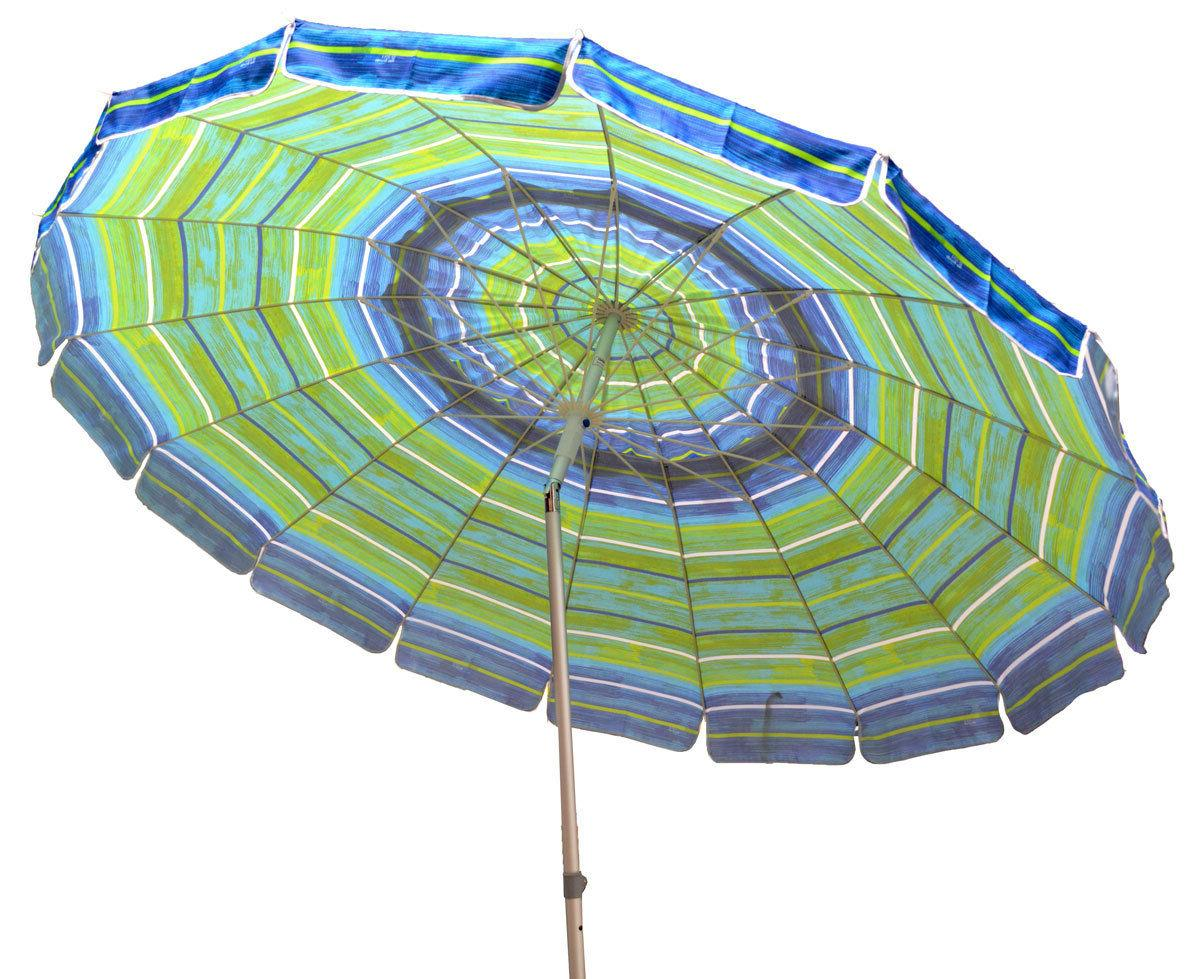 Beach Umbrella with Sand Anchor Auger Color Blue Green 8ft f