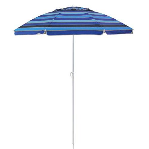 6.5 ft Outdoor Camping Beach Umbrella with Air Protection 50+ Blue