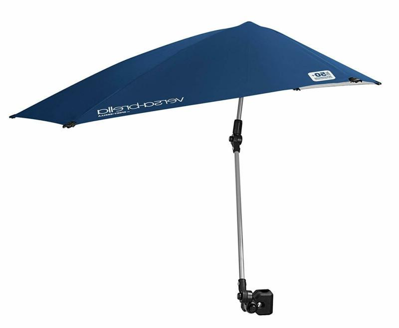 Clamp-On Umbrella Beach Chair Golf Stroller Blue UPF 50+ Sun