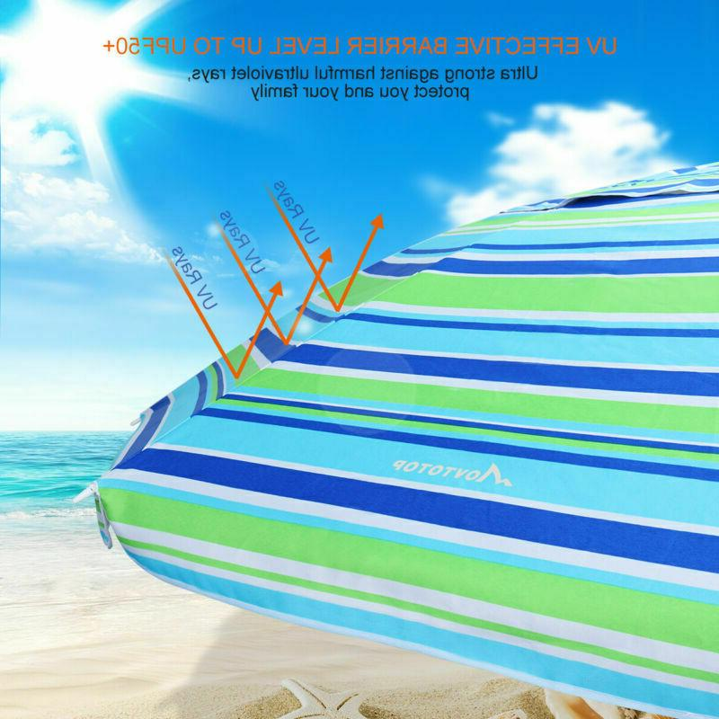 6.5/7' Ft Sand Umbrella Sand Beach UPF Protection W/