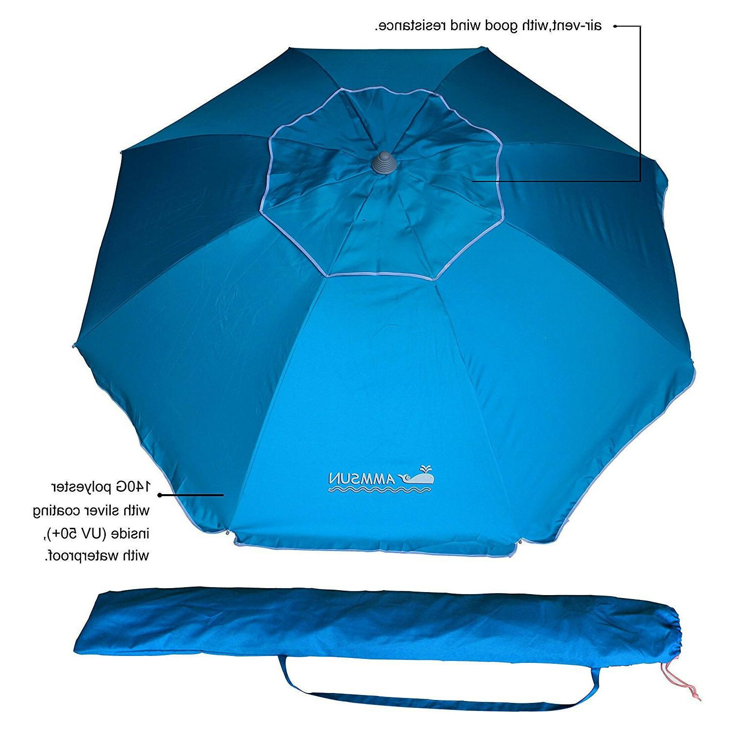 AMMSUN 8 Sand Beach Umbrella w/ Coating